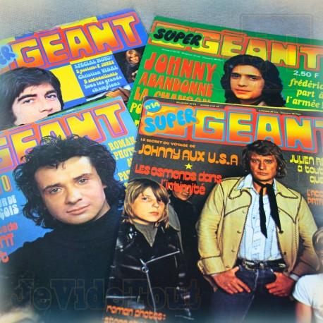 Super Geant - LOT X4 Revues - Johnny Halliday Claude francois Vintage Rare Podium