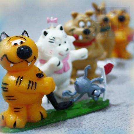 Les Entrechats - YOLANDA - Collection Complete LOT X5 - Figurine PVC - VINTAGE RARE - Isidore RifRaf Heathcliff - FR3